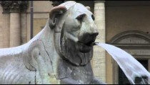 Close-up of the fountain of a lion near Piazza del Popolo