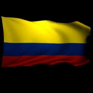 3D Rendering of the flag of Colombia waving in the wind.