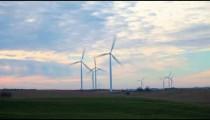 Iowa Windmills at dusk