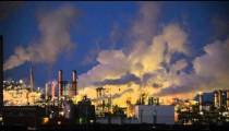 Smoke Stacks at Night from Factory in Wyoming