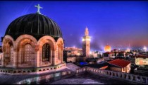 Time lapse of sunset over Jerusalem rooftops, including Dome of the Rock