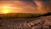 Time-lapse from the Mount of Olives overlooking the cemetery towards the Dome of the Rock at sunset