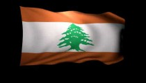3D Rendering of the flag of Lebanon waving in the wind.