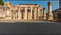 Dolly time-lapse of the old synagogue in Capernuam, Israel