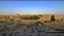 Time lapse of shadow covering Jerusalem's Old City as night falls