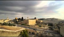 Low-angle time lapse of street below Dome of the Rock