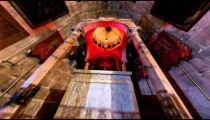 Low-angle tracking footage of Armenian Chapel, Division of Holy Robes