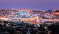 Time-lapse overlooking old city Jerusalem from the west of the city.