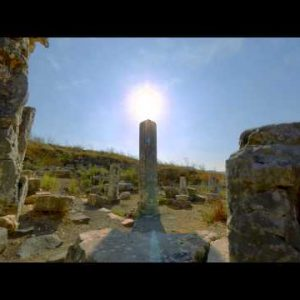 Motion time-lapse of old ruins on Mount Arbel, Israel.