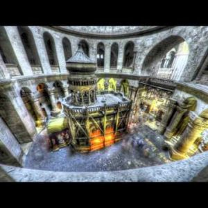 Shot of the Edicule of the Holy Sepulchral time-lapse of tourists walking around.