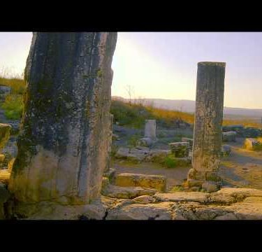 Time-lapse of old ruins on Mount Arbel, Israel.