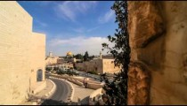 Pushing time-lapse of the Dome of the Rock from a wall to the south west.