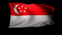 3D Rendering of the flag of Singapore waving in the wind.