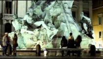 Nighttime time-lapse of the Fontana dei Quattro Fiumi in Rome.