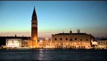 Sunset time-lapse of Saint Mark Square at night from San Giorgio.