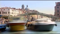 Time-lapse of the Scalzi bridge and water traffic in Venice.