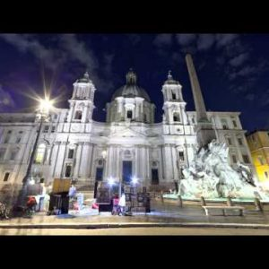NIghttime time-lapse of the Fontana dei Quattro Fiumi and Sant'Agnese in Agone behind in Rome.