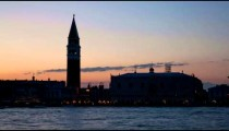 Silhouette time-lapse of Saint Mark Square at night from San Giorgio.