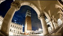 Time-lapse of the tower in Saint Mark's Square at night.