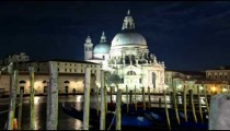 Time-lapse at night of Santa Maria della Salute from Saint Mark's Square.