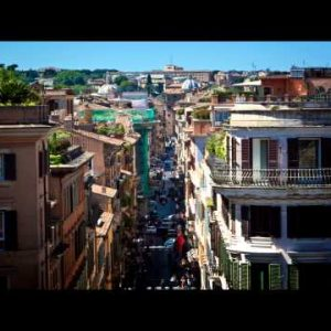 Time-lapse shot of Via Condotti from the Spanish Steps in Rome.