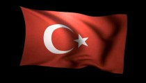 3D Rendering of the flag of Turkey waving in the wind.