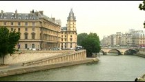Parisian building seen across the Seine River in France.