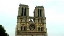 Royalty Free Stock Footage of Front facade of the Notre Dame Cathedral in Paris, France.