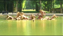 Royalty Free Stock Footage of Pond with statues in Versailles, France.