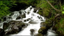 Low angle stationary time lapse view of a gorgeous rocky waterfall in Alaska.