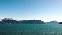 Time lapse view of Glacier bay from the front of a traveling cruise ship in Alaska.