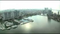 Aerial shot of Miami buildings and harbors.