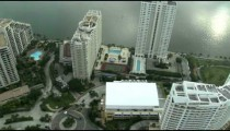Flying over hotels in Miami.