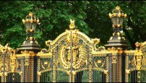 Close-up shot of gates of Buckingham Palace in England.