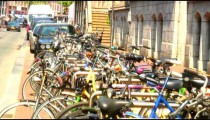 Row of bicycles.