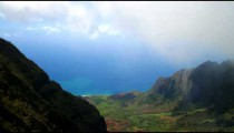 Time-lapse overlooking a valley of the Na Pali coast of Kauai, Hawaii.