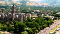 Time-lapse of traffic and clouds around the Salt Lake County Building in Utah.