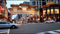 Time-lapse of the traffic at an ornate Chinatown gate.