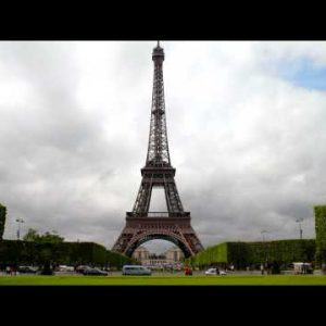 Time-lapse of the Eiffel Tower in Paris, France.