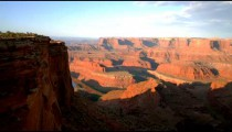 Lookout over sunlit Dead Horse Point in Utah.