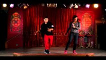 Royalty Free Stock Footage of Two people dancing hip hop filmed in slow motion.
