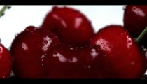 Royalty Free Stock Footage of Close up panorama of red cherries.