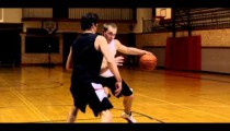 Royalty Free Stock Footage of Fade-away jump shot in a one-on-one basketball game.