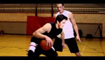 Royalty Free Stock Footage of Slow motion shot of a fade-away jump shot in one-on-one basketball.