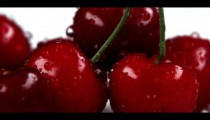 Royalty Free Stock Footage of Close up shot of water drops falling on red cherries.
