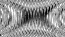 Computer generated visualization of ripples in grey and silver.
