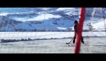 Royalty Free Stock Footage of Young boy skating towards a hockey goal.