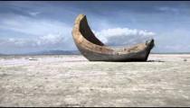 Slider shot of a strange cement object at the Utah Salt Flats.