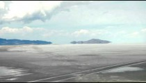 Quickly passing a white desert landscape