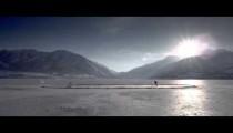 Royalty Free Stock Footage of Outdoor ice rink with someone playing hockey.